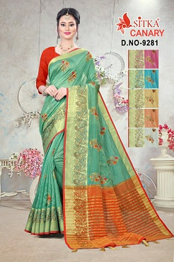 Canary 9281 Casual Wear Embroidery Cotton Sarees Collection b2btextile.in