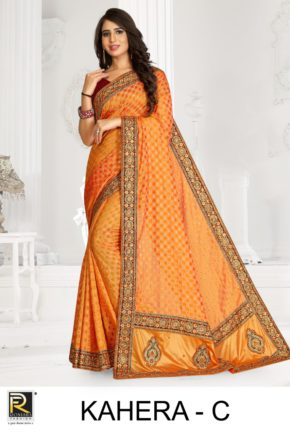 Ronisha Kahera Festive Wear Embroidery Worked Sarees Collection b2btextile.in