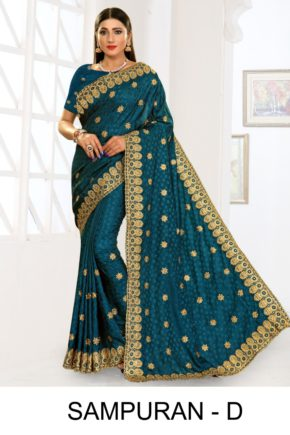 Ronisha Sampuran Casual Wear Embroidery Worked Sarees Collection b2btextile.in