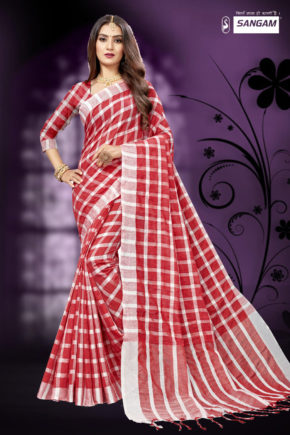 Sangam Red Carpet 2 Casual Wear Cotton Linen Sarees Collection b2btextile.in