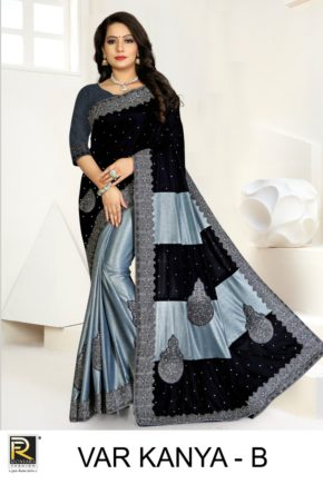 Ronisha Var Kanya Embroidery Worked Cut Paste Saree Collection b2btextile.in