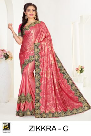 Ronisha Zikkra Embroidery Worked Saree Collection b2btextile.in