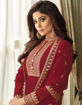 Aashirwad Vihana Real Georgette Embroidered Party wear suit b2btextile.in