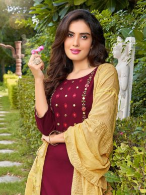 Banwery Chunari Rayon Kurti With Heavy Embroidery Wholesale Pack Of 6 b2btextile.in