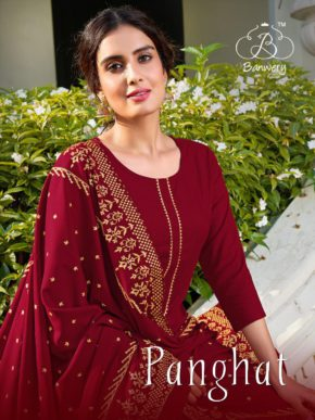 Banwery Panghat Foil Print Rayon Kurti With Bottom Wholesale Pack Of 6 b2btextile.in